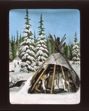 Native Americans: North America. Canada: Cree. View 01: Birchbark tepee (tipi) of Cree indians near Hudson Bay; cut away to show interior