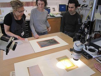 Split Second paintings in the Conservation Lab