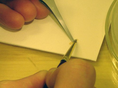Pasting up a piece of Japanese paper
