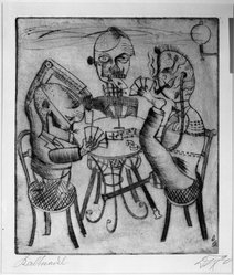 Otto Dix (German, 1891-1969). Card Players (Kartenspieler), 1920. Drypoint on heavy wove paper, Image (Plate): 12 13/16 x 11 1/8 in. (32.5 x 28.3 cm). Brooklyn Museum, Gift of Dr. F.H. Hirschland, 55.165.66. © artist or artist's estate