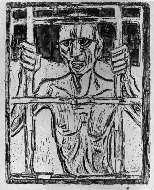 Christian Rohlfs (German, 1849-1939). The Prisoner (Der Gefangene), 1918. Color woodcut in blue and overpainted by the artist, on gray wove paper, Image: 25 x 19 1/2 in. (63.5 x 49.5 cm). Brooklyn Museum, Carll H. de Silver Fund, 65.161