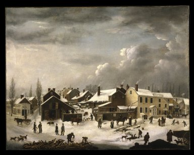 Francis Guy (American, 1760-1820). Winter Scene in Brooklyn, ca. 1819-1820. Oil on canvas, 58 3/8 x 74 9/16 in. (148.2 x 189.4 cm). Brooklyn Museum, Transferred from the Brooklyn Institute of Arts and Sciences to the Brooklyn Museum, 97.13