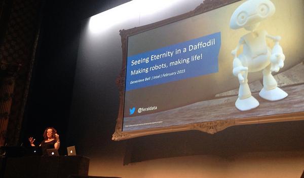 Genevive Bell speaking at Webstock 2015.