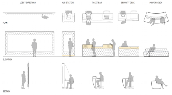 A series of furniture designed by Situ that we could use in a modular and reconfigurable fashion. The design of the components helps differentiate function.