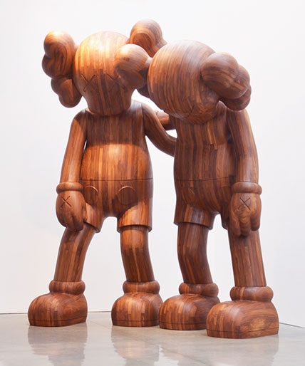 KAWS (Brian Donnelly, American, b. 1974). ALONG THE WAY, 2013. Wood, 216 x 176 x 120 in. (548.6 x 447 x 304.8 cm) overall. Brooklyn Museum; Gift in honor of Arnold Lehman, TL2015.27a‒b. (Photo: Adam Reich, courtesy of Mary Boone Gallery, New York)