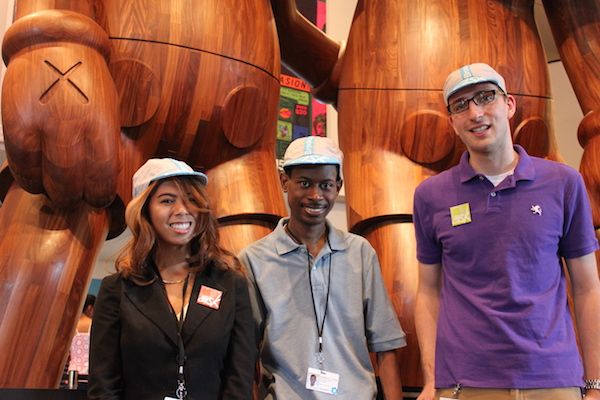 Visitor Liaisons are identified by cycling caps, which so far has worked pretty well. We my find as the lobby gets busier, they may need to wear t-shirts or something even more visible in addition. From left to right: Emily, Kadeem, and Steve.