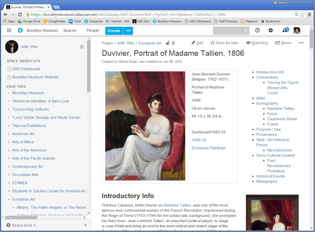 An example of an object page in the ASK Wiki. Information is organized according to discrete categories including Artist, Iconography, Purpose, Provenance, Style/Period, Socio-Cultural Context, and Historic Events.