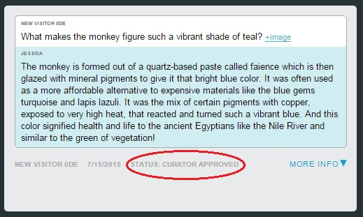 """A """"curator approved"""" snippet in the dashboard. This kind of snippet rises to the top of the heap when the team is answering visitor questions via ASK."""