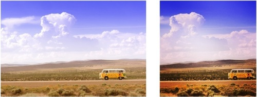 Original image on the left. Modified version found through a reverse image search on the right.