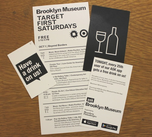 We rolled out the drink incentive idea for the October 2016 First Saturday with great success. We advertise on the printed handout for the night (center) as well as a dedicated palm card (right front/back). We then hand out physical coupons (left) that the winner takes any of the bars set up around the Museum.