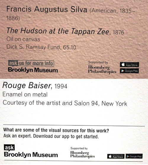 We have continued to tweak messaging in an attempt to build awareness and clarity around the app. The top image is a label in the American art gallery using the ASK brand approach from April 2016. The bottom image is a label in the Marilyn Minter special exhibition using a new approach featuring a question combined with directive to download. Both are up in the galleries now. Labels will be included as part of the fresh look we'll take at all our messaging around ASK.