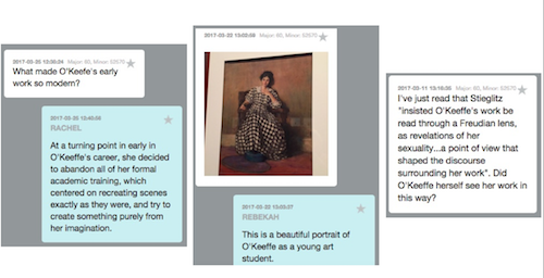 Patterns in the ways visitors are using the app in the exhibition emerged pretty quickly including using the prompt questions (left), sending photos only (center), and savvy questions relating to the themes of the show (right).