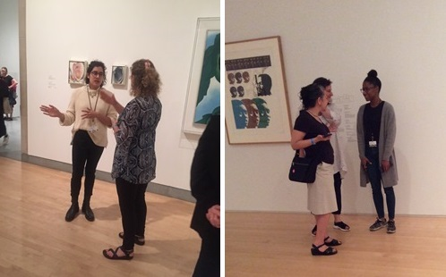 "Our wiley ASK Ambassadors snapped two quick photos of visitor interactions during this pilot. On the right, Isabella speaks with a visitor in the O'Keeffe exhibition. On the left, Rachel speaks with visitors in ""We Wanted a Revolution."""