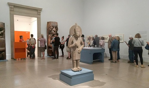 Lines of visitors extended into the galleries for Arts of the Americas.