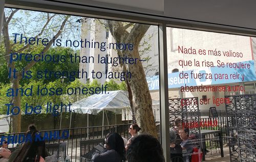 Some quotes were posted in public areas: in our cafe, in elevators, on glass exit doors.