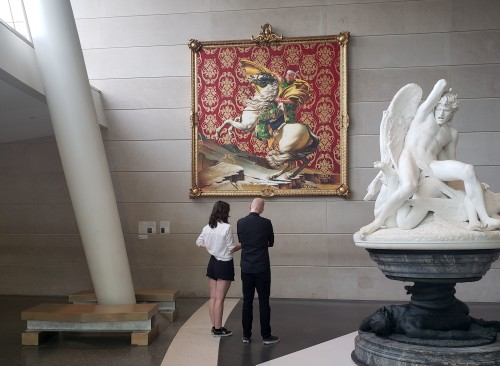 Visitors could begin their experience in the Museum lobby at a painting by Kehinde Wiley.